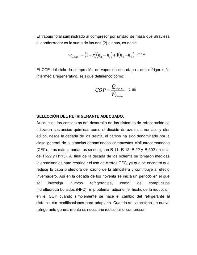 El trabajo total suministrado al compresor por unidad de masa que atraviesael condensador es la suma de las dos (2) etapas...