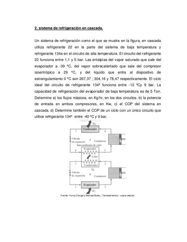 2. sistema de refrigeración en cascada.Un sistema de refrigeración como el que se mustra en la figura, en cascadautiliza r...