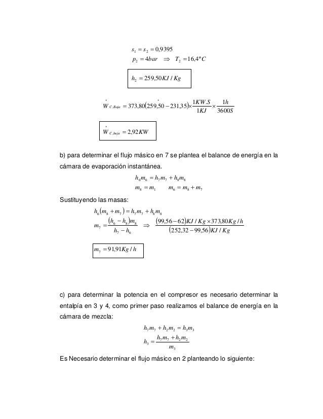 s1 = s 2 = 0,9395                                p 2 = 4bar ⇒ T2 = 16,4º C                                h2 = 259,50 KJ /...