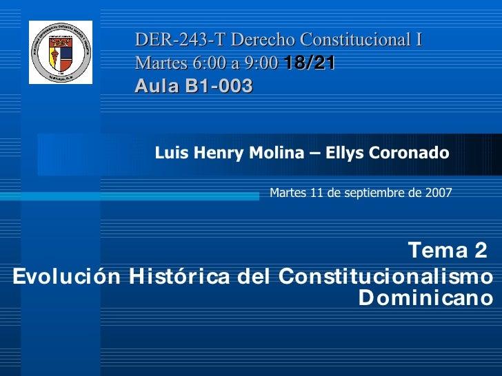 DER-243-T Derecho Constitucional I  Martes 6:00 a 9:00  18/21   Aula B1-003 <ul><li>Tema 2  </li></ul><ul><li>Evolución Hi...