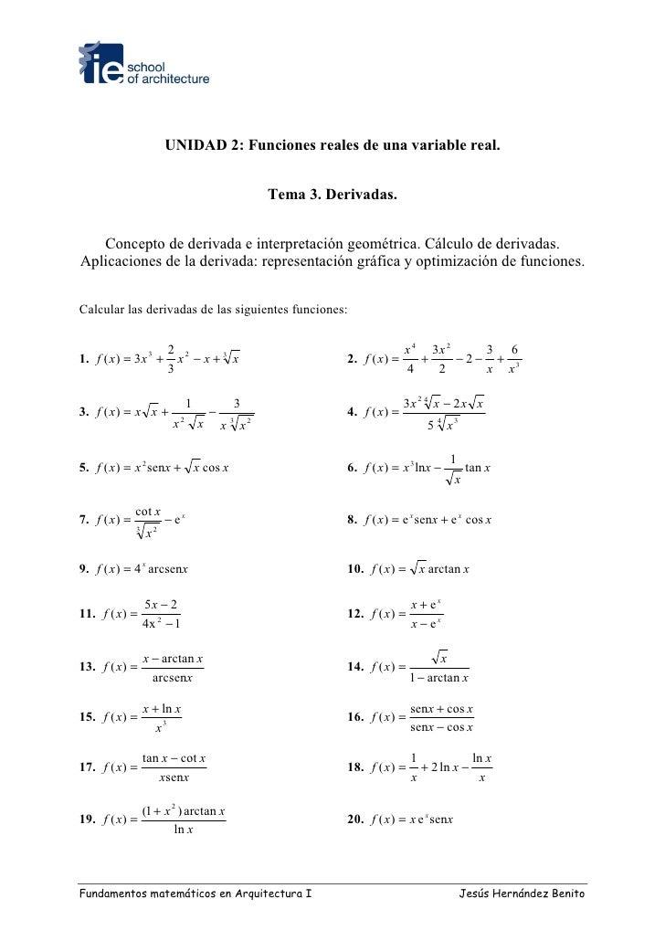 UNIDAD 2: Funciones reales de una variable real.                                                      Tema 3. Derivadas.  ...