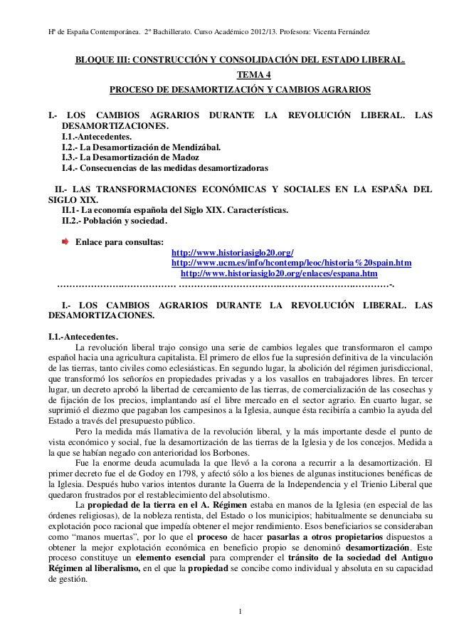 Hª de España Contemporánea. 2º Bachillerato. Curso Académico 2012/13. Profesora: Vicenta Fernández  BLOQUE III: CONSTRUCCI...
