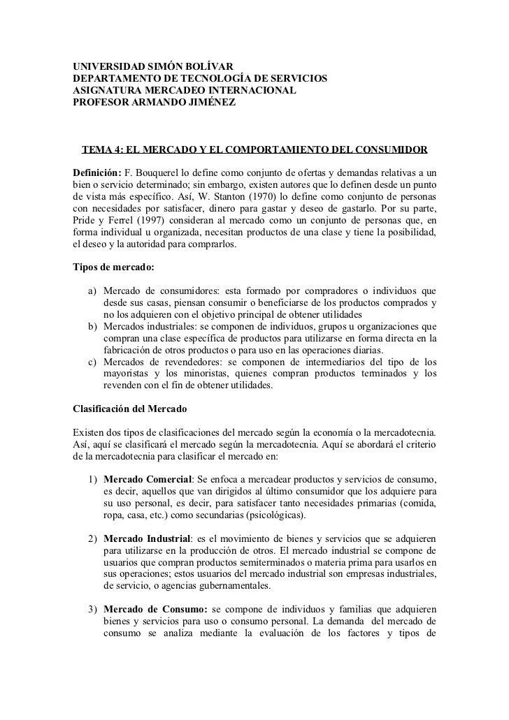 UNIVERSIDAD SIMÓN BOLÍVAR DEPARTAMENTO DE TECNOLOGÍA DE SERVICIOS ASIGNATURA MERCADEO INTERNACIONAL PROFESOR ARMANDO JIMÉN...