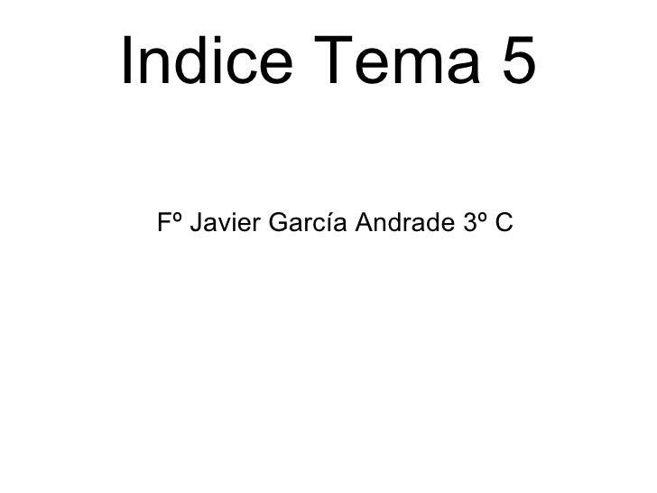Indice Tema 5 <ul><ul><li>Fº Javier García Andrade 3º C </li></ul></ul>