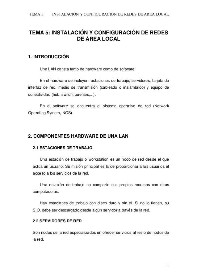 TEMA 5  INSTALACIÓN Y CONFIGURACIÓN DE REDES DE AREA LOCAL  TEMA 5: INSTALACIÓN Y CONFIGURACIÓN DE REDES DE ÁREA LOCAL 1. ...
