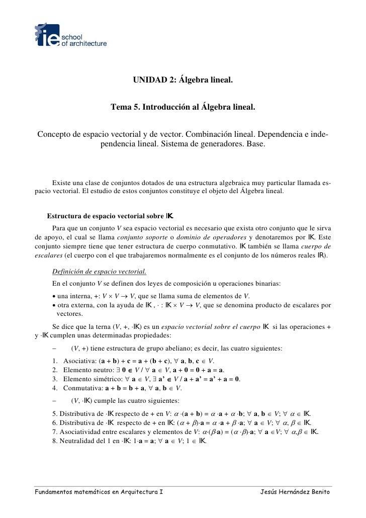 UNIDAD 2: Álgebra lineal.                              Tema 5. Introducción al Álgebra lineal.   Concepto de espacio vecto...