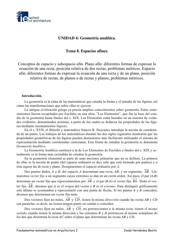 UNIDAD 4: Geometría analítica.                                      Tema 8. Espacios afines.    Conceptos de espacio y sub...