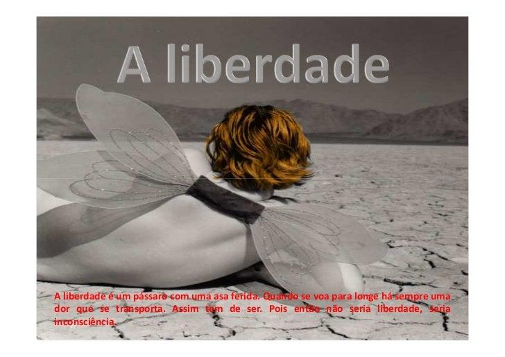 A liberdade é um pássaro com uma asa ferida. Quando se voa para longe há sempre umador que se transporta. Assim tem de ser...