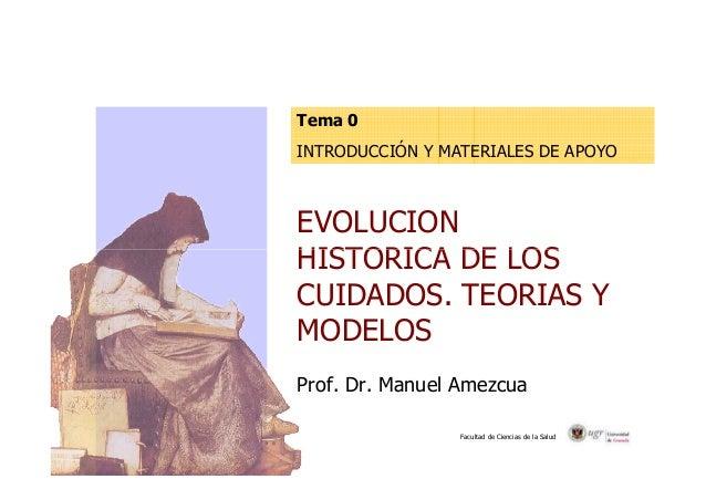 Tema 0  INTRODUCCIÓN Y MATERIALES DE APOYO  EVOLUCION  HISTORICA DE LOS  CUIDADOS. TEORIAS Y  MODELOS  Prof. Dr. Manuel Am...