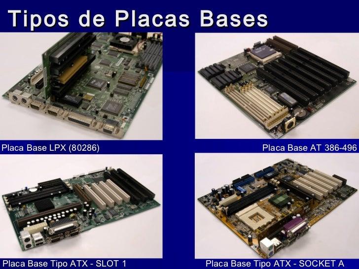 Tipos de Placas BasesPlaca Base LPX (80286)                     Placa Base AT 386-496Placa Base Tipo ATX - SLOT 1   Placa ...