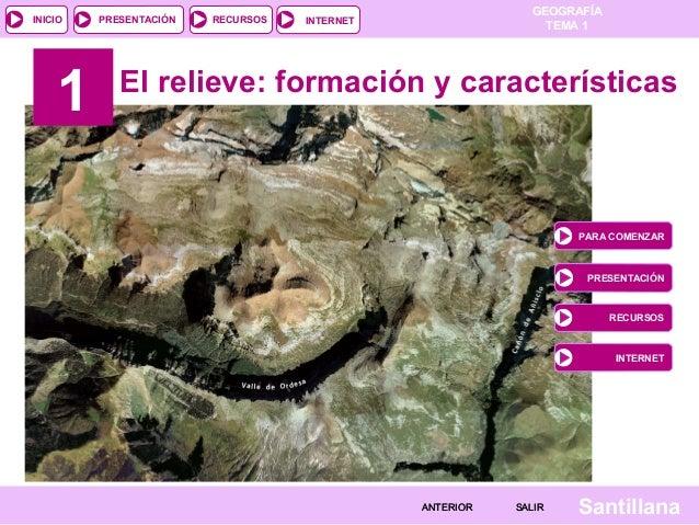 GEOGRAFÍA TEMA 1RECURSOS INTERNETPRESENTACIÓN Santillana INICIO SALIRSALIRANTERIORANTERIOR 1 El relieve: formación y carac...