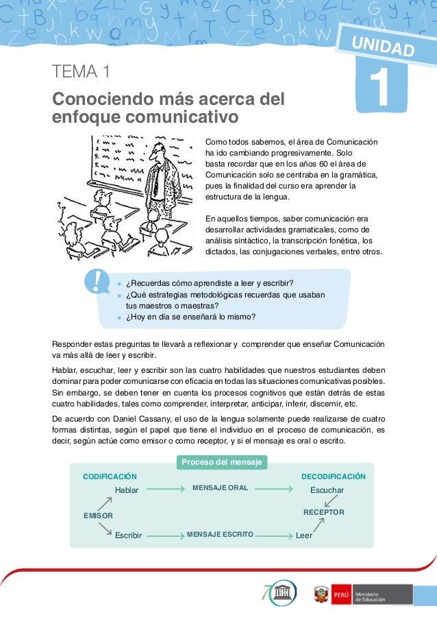 1 Conociendo más acerca del enfoque comunicativo 1 UNIDAD Como todos sabemos, el área de Comunicación ha ido cambiando pro...