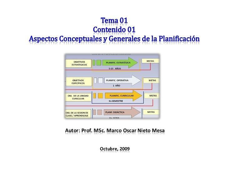 Tema 01                   Contenido 01 Aspectos Conceptuales y Generales de la Planificación                Autor: Prof. M...