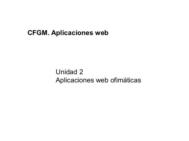 CFGM. Aplicaciones web       Unidad 2       Aplicaciones web ofimáticas