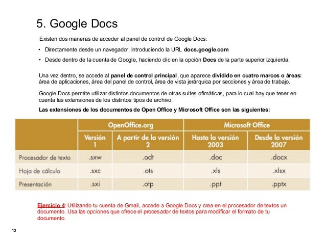 5. Google Docs     Existen dos maneras de acceder al panel de control de Google Docs:     • Directamente desde un navegado...