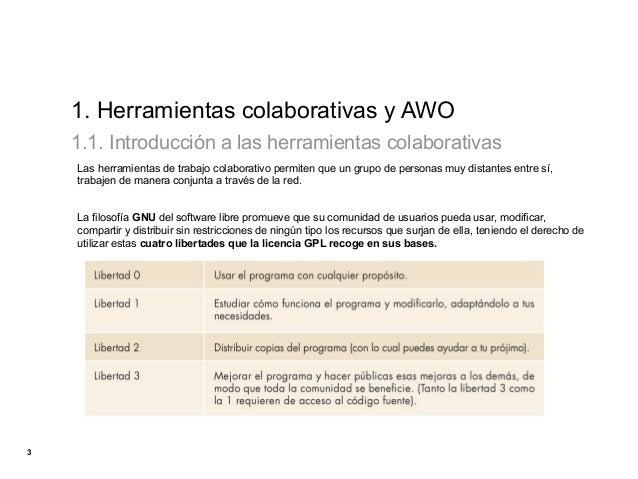 1. Herramientas colaborativas y AWO    1.1. Introducción a las herramientas colaborativas    Las herramientas de trabajo c...