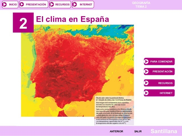 GEOGRAFÍA TEMA 2 RECURSOS INTERNETPRESENTACIÓN Santillana INICIO SALIRSALIRANTERIORANTERIOR El clima en España PARA COMENZ...