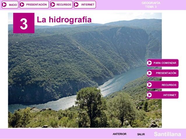 INICIO  PRESENTACIÓN  3  RECURSOS  GEOGRAFÍA TEMA 3  INTERNET  La hidrografía  PARA COMENZAR  PRESENTACIÓN  RECURSOS  INTE...