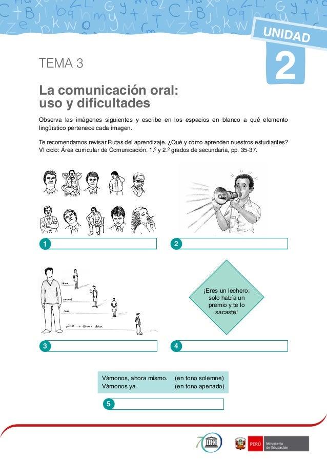 1 La comunicación oral: uso y dificultades 2 UNIDAD Observa las imágenes siguientes y escribe en los espacios en blanco a ...
