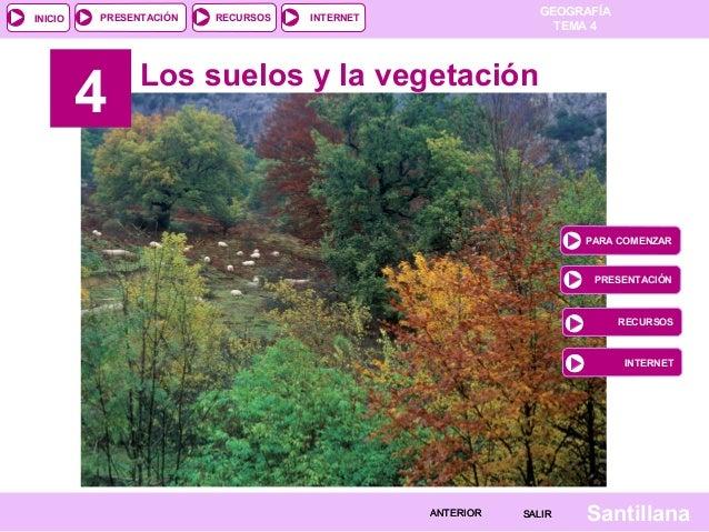 GEOGRAFÍA TEMA 4 RECURSOS INTERNETPRESENTACIÓN SantillanaSALIRSALIRANTERIORANTERIOR INICIO 4 Los suelos y la vegetación PA...