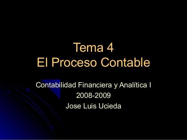 Tema 4 El Proceso Contable Contabilidad Financiera y Analítica I 2008-2009 Jose Luis Ucieda
