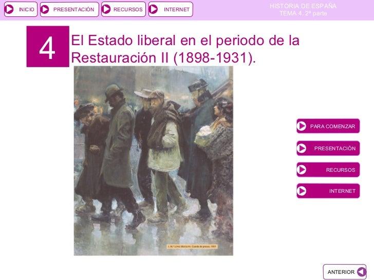 4 El Estado liberal en el periodo de la Restauración II (1898-1931). PARA COMENZAR PRESENTACIÓN RECURSOS INTERNET