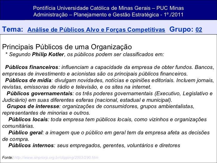 Pontifícia Universidade Católica de Minas Gerais – PUC Minas Administração – Planejamento e Gestão Estratégica - 1º./2011 ...