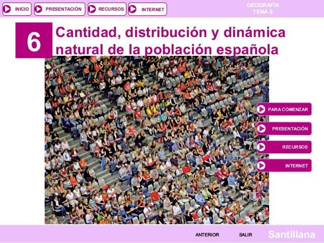 INICIO  6  PRESENTACIÓN  RECURSOS  GEOGRAFÍA TEMA 6  INTERNET  Cantidad, distribución y dinámica natural de la población e...
