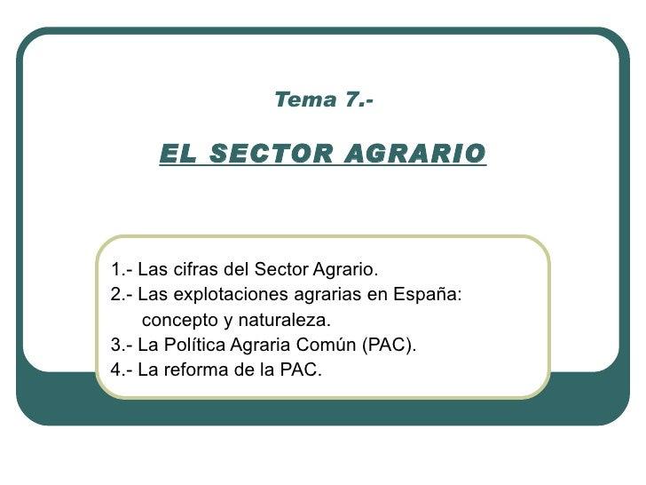 Tema 7.-       EL SECTOR AGRARIO    1.- Las cifras del Sector Agrario. 2.- Las explotaciones agrarias en España:     conce...