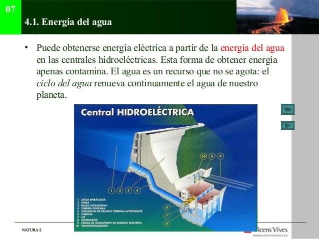 07      4.1. Energía del agua      • Puede obtenerse energía eléctrica a partir de la energía del agua        en las centr...