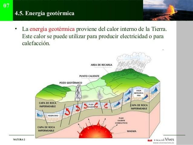 07      4.5. Energía geotérmica      • La energía geotérmica proviene del calor interno de la Tierra.        Este calor se...
