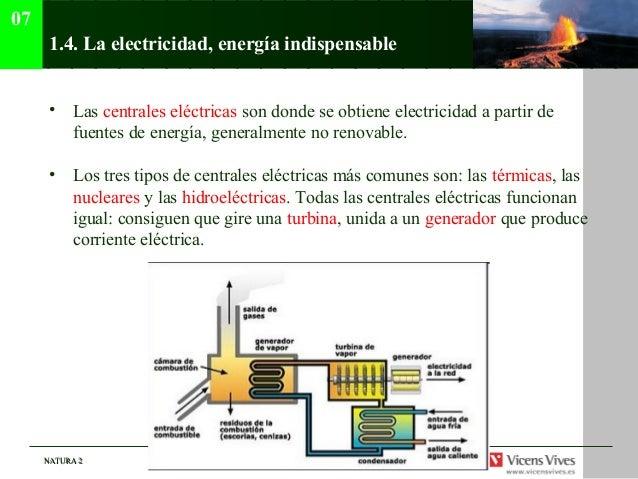 07      1.4. La electricidad, energía indispensable      • Las centrales eléctricas son donde se obtiene electricidad a pa...