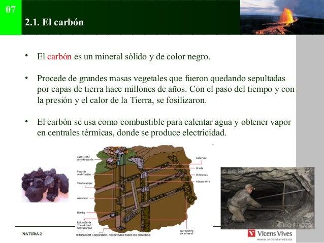 07      2.1. El carbón      • El carbón es un mineral sólido y de color negro.      • Procede de grandes masas vegetales q...