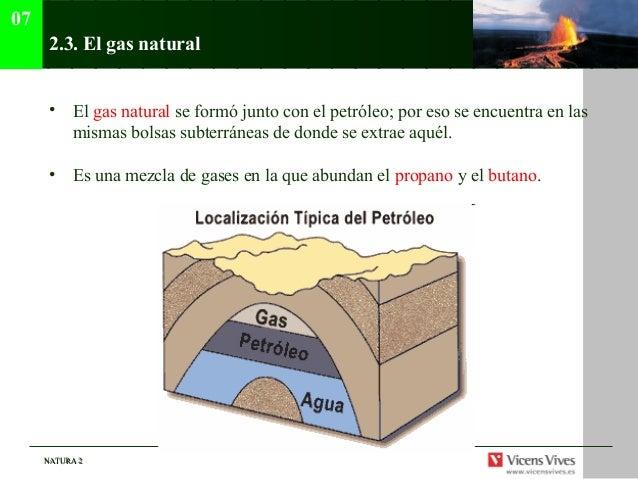 07      2.3. El gas natural      • El gas natural se formó junto con el petróleo; por eso se encuentra en las        misma...