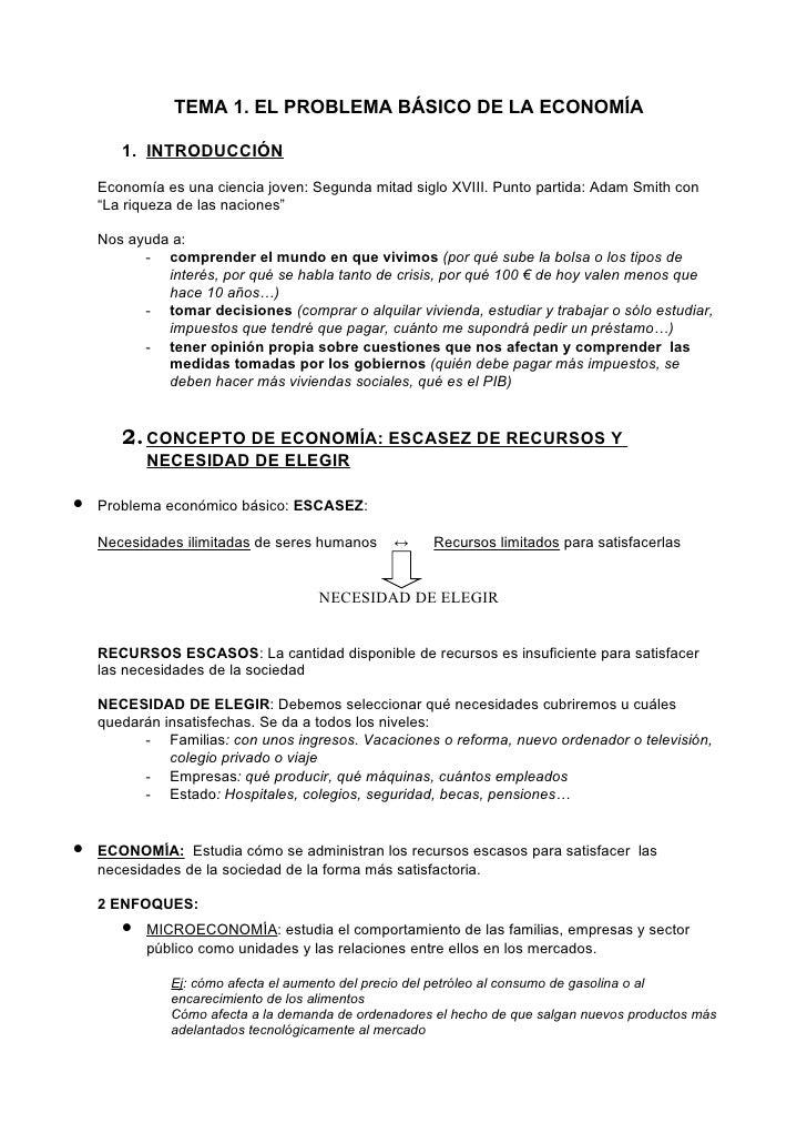 TEMA 1. EL PROBLEMA BÁSICO DE LA ECONOMÍA         1. INTRODUCCIÓN      Economía es una ciencia joven: Segunda mitad siglo ...