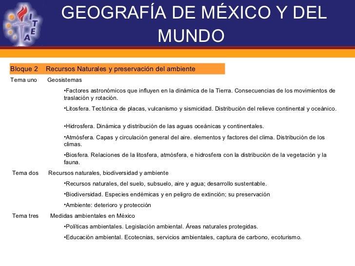 GEOGRAFÍA DE MÉXICO Y DEL MUNDO   <ul><li>Bloque 2  Recursos Naturales y preservación del ambiente  </li></ul><ul><li>Tema...