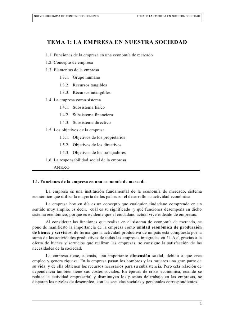 NUEVO PROGRAMA DE CONTENIDOS COMUNES                      TEMA 1: LA EMPRESA EN NUESTRA SOCIEDAD        TEMA 1: LA EMPRESA...