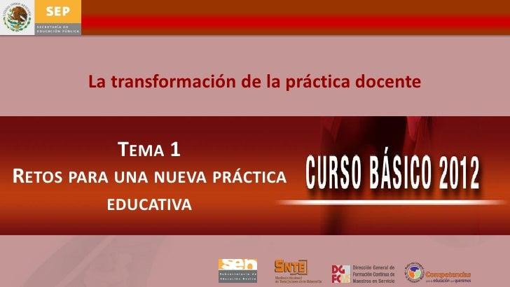 La transformación de la práctica docente           TEMA 1RETOS PARA UNA NUEVA PRÁCTICA          EDUCATIVA