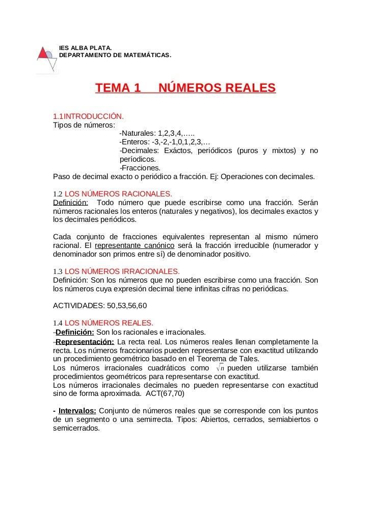 IES ALBA PLATA. DEPARTAMENTO DE MATEMÁTICAS.            TEMA 1             NÚMEROS REALES1.1INTRODUCCIÓN.Tipos de números:...