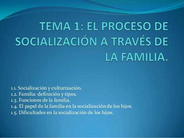 1.1. Socialización y culturización.1.2. Familia: definición y tipos.1.3. Funciones de la familia.1.4. El papel de la famil...