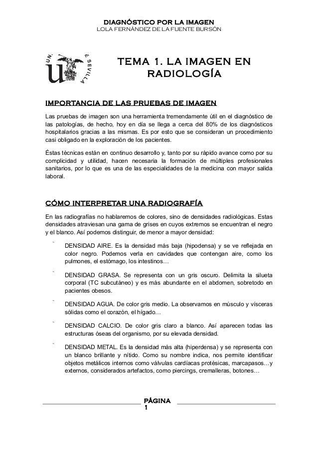 DIAGNÓSTICO POR LA IMAGEN LOLA FERNÁNDEZ DE LA FUENTE BURSÓN TEMA 1. LA IMAGEN EN RADIOLOGÍA IMPORTANCIA DE LAS PRUEBAS DE...