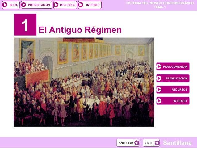 HISTORIA DEL MUNDO CONTEMPORÁNEO TEMA 1 RECURSOS INTERNETPRESENTACIÓN Santillana INICIO SALIRSALIRANTERIORANTERIOR 1 El An...