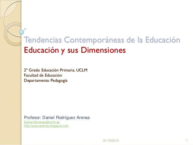Tendencias Contemporáneas de la Educación Educación y sus Dimensiones 2º Grado Educación Primaria. UCLM Facultad de Educac...