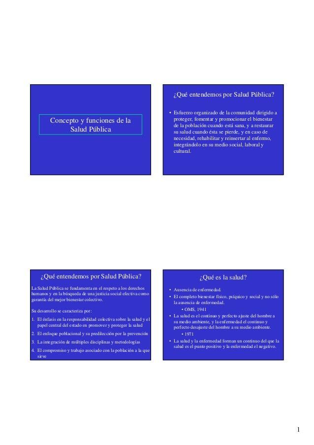 1 Concepto y funciones de la Salud Pública ¿Qué entendemos por Salud Pública? • Esfuerzo organizado de la comunidad dirigi...
