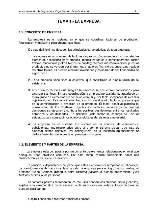 Administración de Empresas y Organización de la Producción 1 TEMA 1.- LA EMPRESA. 1.1. CONCEPTO DE EMPRESA. La empresa es ...