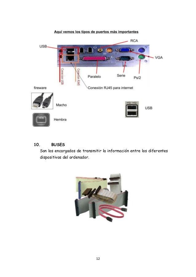12 10. BUSES Son los encargados de transmitir la información entre los diferentes dispositivos del ordenador.