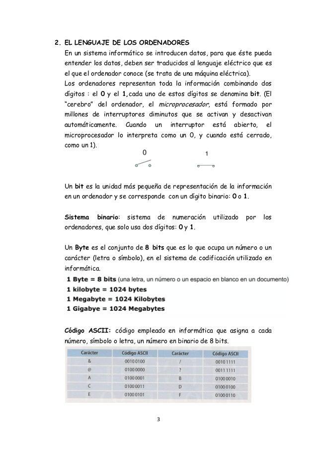 3 2. EL LENGUAJE DE LOS ORDENADORES En un sistema informático se introducen datos, para que éste pueda entender los datos,...