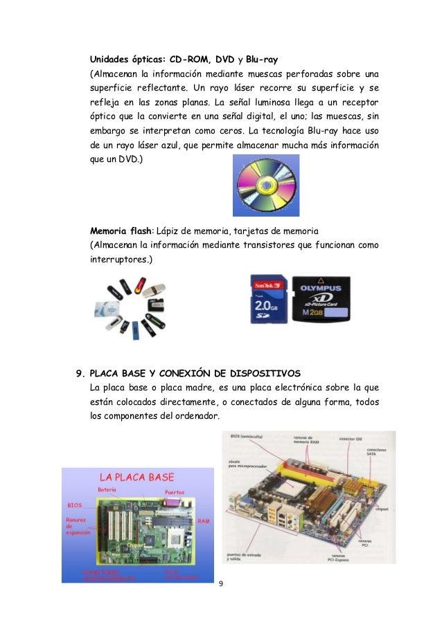 9 Unidades ópticas: CD-ROM, DVD y Blu-ray (Almacenan la información mediante muescas perforadas sobre una superficie refle...