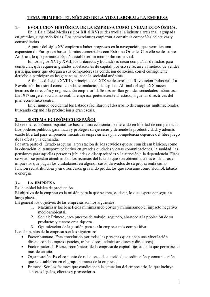 TEMA PRIMERO - EL NÚCLEO DE LA VIDA LABORAL: LA EMPRESA1.-     EVOLUCIÓN HISTÓRICA DE LA EMPRESA COMO UNIDAD ECONÓMICA.   ...