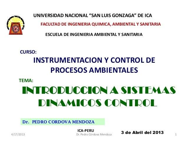 """UNIVERSIDAD NACIONAL """"SAN LUIS GONZAGA"""" DE ICA               FACULTAD DE INGENIERIA QUIMICA, AMBIENTAL Y SANITARIA        ..."""